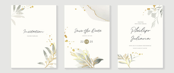 Obraz Abstract art background vector. Luxury invitation card background with golden line art flower and botanical leaves, Organic shapes, Watercolor. Vector invite design for wedding and vip cover template. - fototapety do salonu
