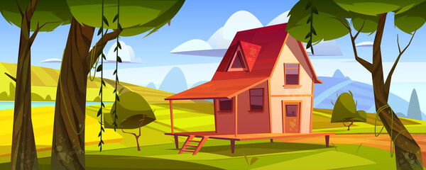 Wooden farm house with agriculture fields and garden. Vector cartoon summer landscape of countryside with green hills, lake, trees and small cottage with porch