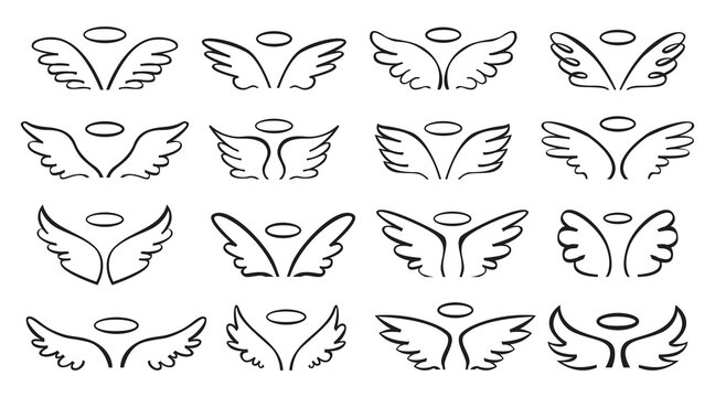 Sketch wing. Pair of angel wings with halo. Cute wide open angelic wing doodle, flying bird feathers outline tattoo sketch vector set. Logo template art collection, different designs