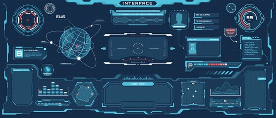 Fototapeta Futuristic hud interface. Sci-fi virtual communication display layout. Digital hologram screen, spaceship control panel vector template. Bars, titles, dashboard and window with information obraz