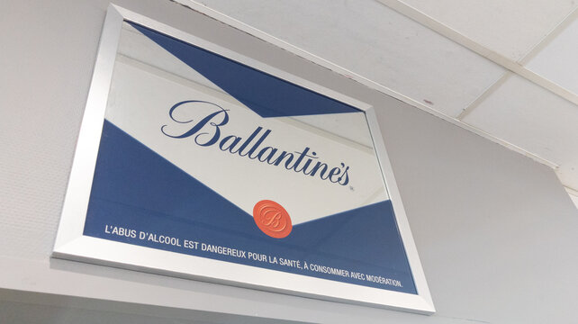 Ballantine's sign text and logo bar brand Blended Scotch whiskies produced by Pernod Ricard in Ballantines Dumbarton Scotland