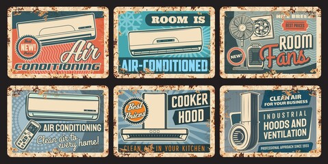 Fototapeta Air conditioning and ventilation rusty plates with vector air conditioners, cooker or kitchen exhaust hoods, room fans with remote control. Climate control vintage tin plates and grunge signboards obraz