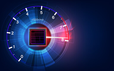 Obraz Overclocking the CPU clock speedometer. hi tech circuits fantastic absract backgroun. - fototapety do salonu