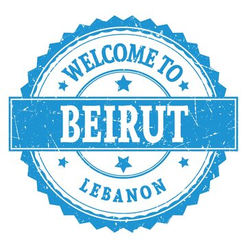 WELCOME TO BEIRUT - LEBANON, words written on blue stamp
