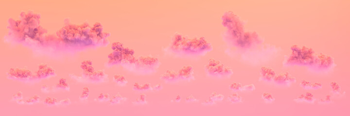 orange panoramic cumulus sunset backdrop , creative nature 3D illustration