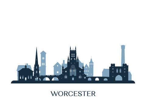 Worcester skyline, monochrome silhouette. Vector illustration.