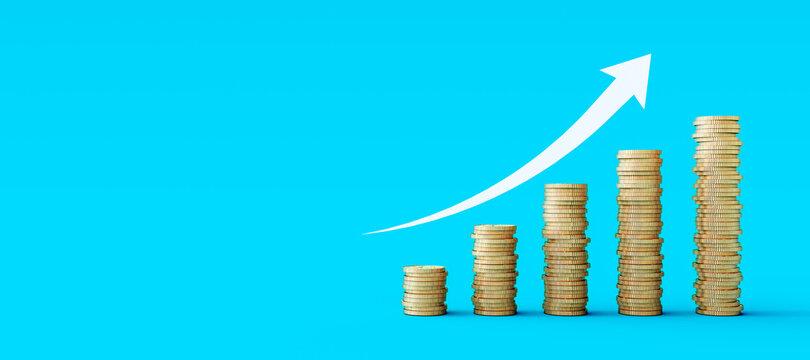 Gold coins stacks on blue background. Growing business concept 3D Rendering, 3D Illustration