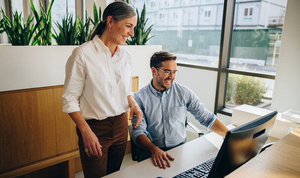 Happy manager and assistant using computer