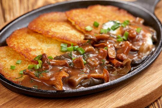 potato pancakes with mushrooms and herbs
