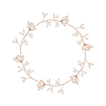 Decorative wreath with magnolia flowers. Elegant wedding frame. Vector isolated illustration.