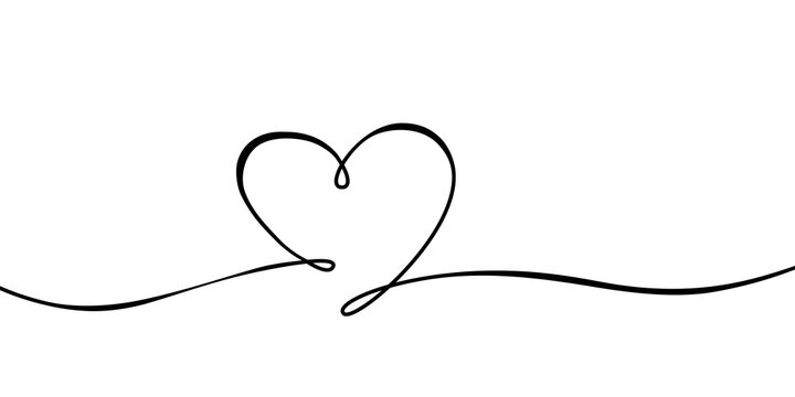 Lined heart shape on white illustration
