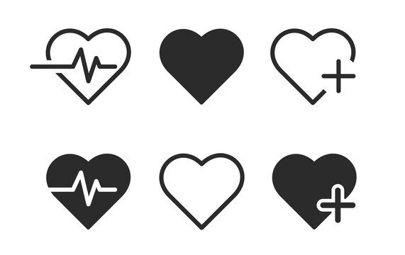 Heart icon set. Cardiogram vector illustration. Health icon set