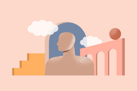 Philosophy, psychology, mental health concept. Inner world of a person. Minimal abstract illustration with geometric shapes and modern architecture. Human mind, brain, thinking. Isolated vector