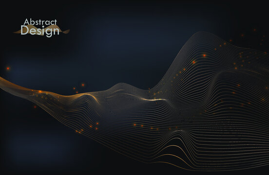 luxury modern background with golden wave. modern banner is suitable for wallpaper. sound wave. vector illustration