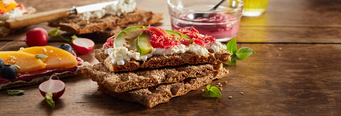 Appetizing crispbread toasts paced on table for snack