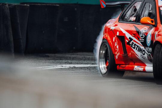 Subaru Impreza going fast in the drift