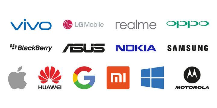 Collection of popular smartphone brands logo set. Vector illustration. Vinnitsa, Ukraine - July 13, 2021