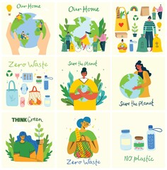 Obraz Hand drawn elements of zero waste life in vector. Eco style. No plastic. Go green - fototapety do salonu