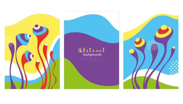Collection of abstract background designs, bizarre shapes . Vector illustration