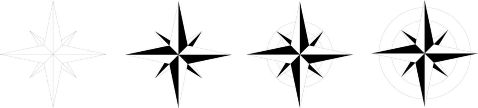 Wind rose - 4 models of compass rose