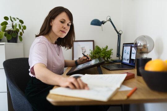 Female artist drawing on digital tablet