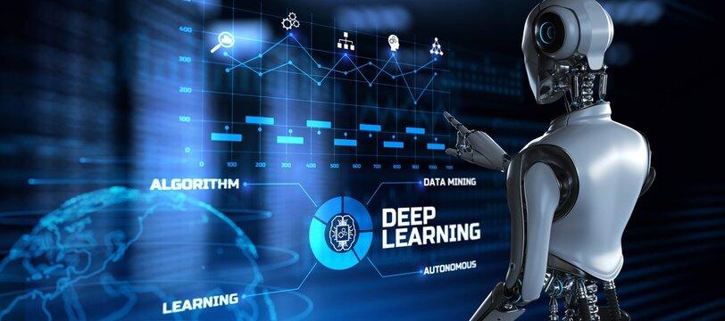 Deep learning artificial intelligence neural network. Robot pressing button on screen 3d render.