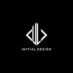 Obraz UL initial monogram with rhombus shape logo design - fototapety do salonu