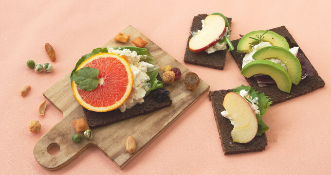 Homemade of Canape fruit mixed with bread,