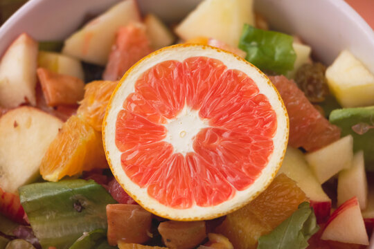 Closeup Sliced Orange with pink pulp,