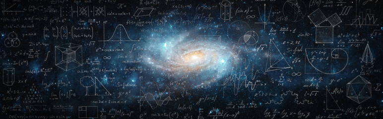 Obraz Mathematical and physical formulas against the background of a galaxy in universe. Space Background on the theme of science and education. Elements of this image furnished by NASA. - fototapety do salonu