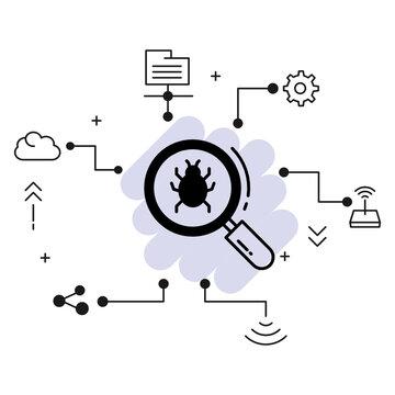 Bug Finder Concept, Spyware Scanning Sign stock illustration, Malware Virus Scan Vector Glyph Icon Design, Cloud computing and Internet hosting services Symbol,