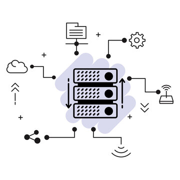 colocation server rack machine vector glyph icon design, Cloud computing and Internet hosting services Symbol,  Web Hosting and Data Center Stock illustration