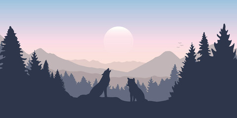 Obraz wolf pack in forest with mountain landscape - fototapety do salonu