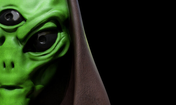 Portrait of an alien male extraterrestrial on a background. 3d rendering