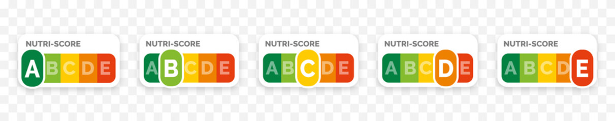 Obraz Nutri-score icons set. Isolatad Nutriscore stickers for packaging on white background. Food rating system signs : A, B, C, D, E. Vector illustration. - fototapety do salonu