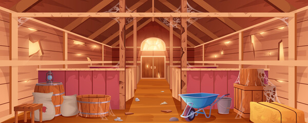 Obraz Cartoon abandoned barn interior with spiderweb and destroyed walls. Neglected farm house or wooden empty ranch with stalls, haystacks, sacks and gate. Old countryside storehouse building for animals. - fototapety do salonu