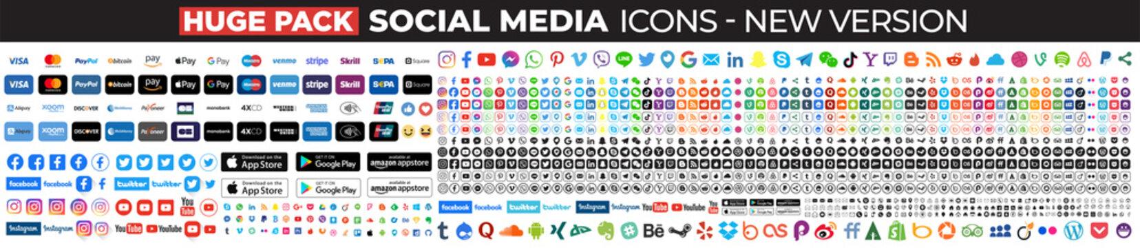 Huge Pack social media icons. Facebook, instagram, twitter, youtube, linkedin, tiktok, google, linkedin, whatsapp, snapchat,...