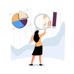 Obraz Analyst looking at digits and diagrams through magnifying glass. Concept of big data analysis, business analytics, stats - fototapety do salonu