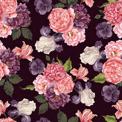 Seamless pattern with watercolor vintage floral arrangements, isolated on colored background