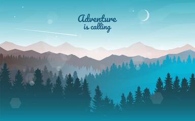 Obraz Sunset, sunrise, night, morning in mountains. Hiking tourism. Adventure. Abstract mountain landscape. Vector banner with polygonal landscape illustration. Minimalist style background. Flat design. - fototapety do salonu