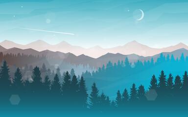 Obraz Sunset, sunrise, night, morning in mountains. Hiking tourism. Adventure. Abstract mountain landscape. Banner with polygonal landscape illustration. Minimalist style background. Flat design. - fototapety do salonu