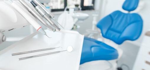 Obraz Dental tools in dentist office - fototapety do salonu
