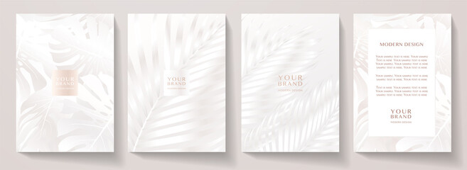 Modern white cover design set. Creative fashionable background with abstract floral pattern. Elegant tropical vector collection for wedding invite, brochure template, magazine layout, beauty booklet