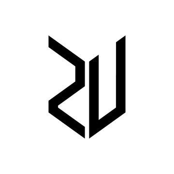 initial letters monogram logo black ZU