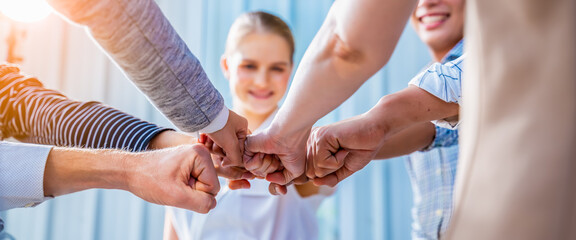 Panoramic Teamwork,empathy,partnership and Social connection in business join hand together...