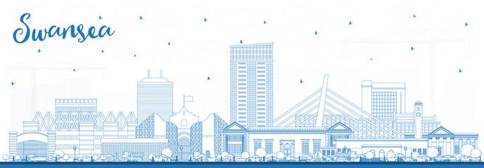Fototapeta Outline Swansea Wales City Skyline with Blue Buildings. obraz