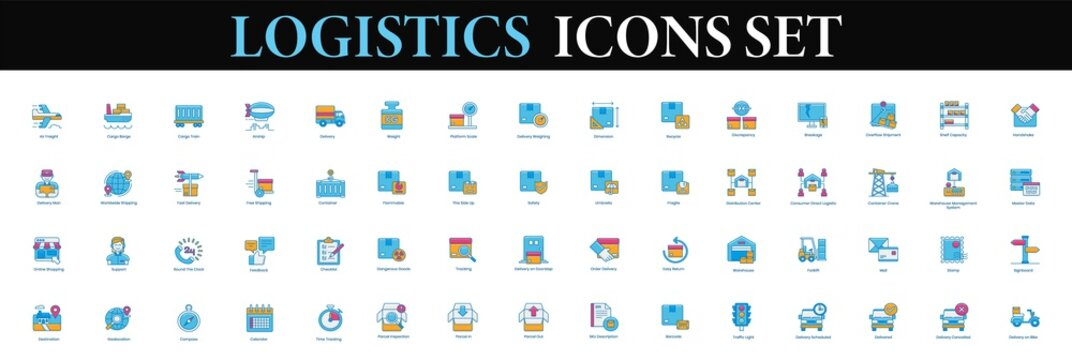 Logistics Icons Set. Logistic transport Shipping icon vector.