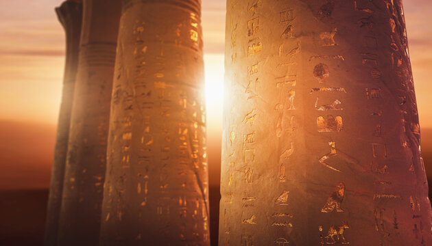 3D Rendering, illustration of Egyptian columns carved with random ancient hieroglyphics at sunset.