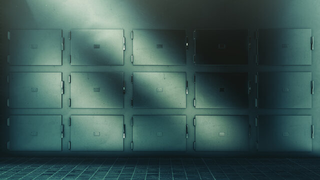 3D Rendering, illustration of hospital morgue trays in a high contrast image