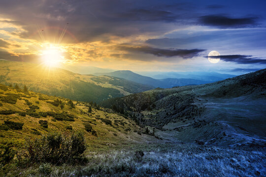 day and night time change concept above carpathian mountain landscape. beatiful scenery with green rolling hills at twilight beneath a dramatic sky in summer. popular travel destination of chornohora